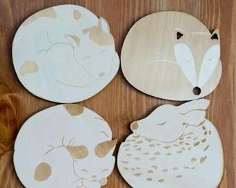 Cute animals WOOD coasters. engraved animal coasters. Cat dog deer fox coaster set. set of FOUR. home decor. housewarming gift
