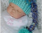 BLUE HAND CROCHET baby long tail elf/pixie pom pom hat, photo prop, baby shower gift