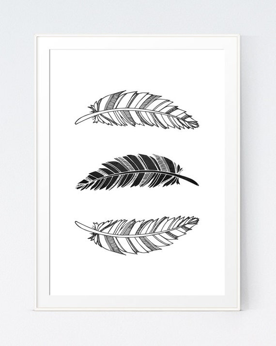 Black And White Nursery Wall Decor : Items similar to feathers black white print nursery wall