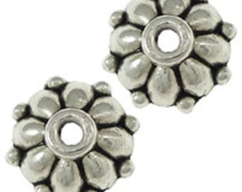 24pc 7.5mm antique silver finish metal bead caps-9904