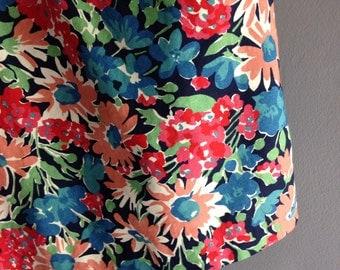 80s Floral Print Skirt in Cotton Medium