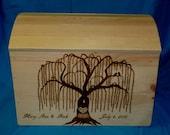 Rustic Wood Wedding Keepsake Box Decorative Wooden Trunk Barn Wedding Wood Burned Box Personalized Wedding Advice Box Bridal Shower Gift
