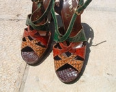 NINA  chunky heels snake skin leather circa 1970 circa made in Spain