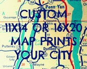 Custom map art, Custom map gift, City map print ,11x14, 16x20 map, color map,map wall, office art,  office decor, kids room map, map decor