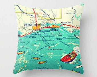 Mississippi Pillow, Any City Map, Custom Mississippi Map Pillow Cover MS Biloxi, Natchez, Jackson Decorative Pillow Cover Housewarming Gifts