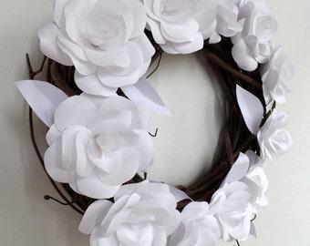 White Paper Flower Grapevine Wreath