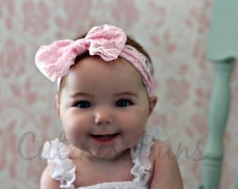 Baby Headbands, Newborn Headband, Baby Bows, Headband, Girl Headband, Pink  Headband, Hairbow, Headband, Head band, lace bow, lace headband