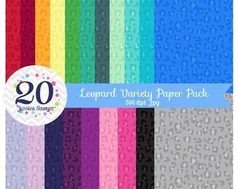 INSTANT DOWNLOAD, Rainbow Leopard Digital Papers, Animal Print Backgrounds for personal and commercial use
