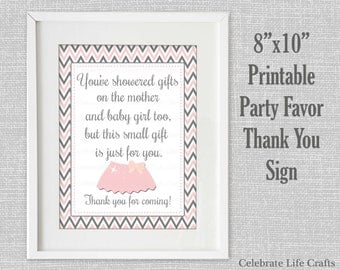 Baby Shower Printable Thank You Favor Sign - Printable Baby Shower Party Decorations - Pink Gray Baby Girl Tutu - G002
