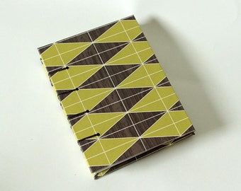 Geometric Faux Bois Avocado Green Coptic Blank Book - Fake Woodgrain Journal Notebook