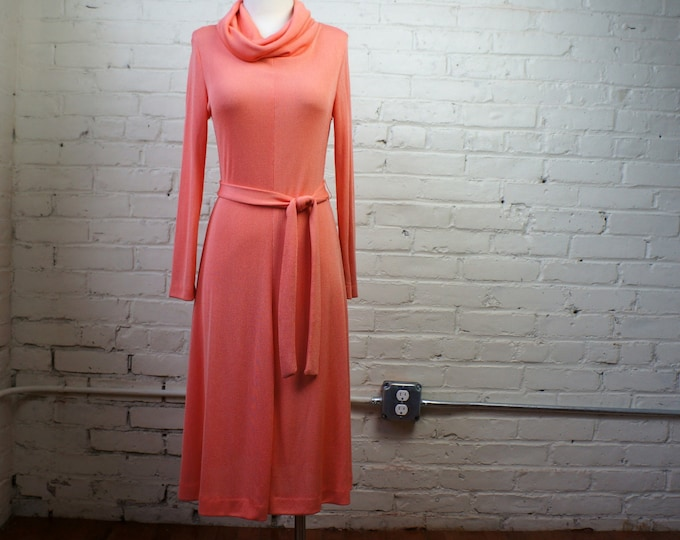 Spring Peach 1970s Vintage Knit Coral Cowl Neck Dress MEDIUM Wear to Work to Cocktails 70s Bohemian Orange Pink Long Sleeve Belted Sheath