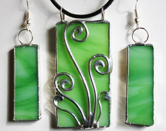 Stained Glass Pendant and Earring Fern Forest Spirit Design Original Handmade Jewelry