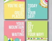 You're off to Great Places 3 | Wall Art Collection | Canvas Art Decor | Typography Quote Print | Girly Decor | Playroom Prints