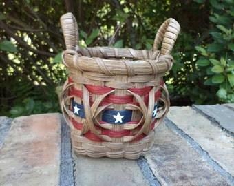 American Flag Pencil Basket Old Glory Basket Patriotic Basket Stars and Stripes Basket Handwoven Basket