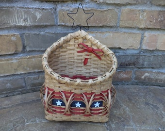 Flag Americana Fourth of July Old Glory Patriotic Stars & Stripes Mail Wall Basket Handwoven Basket