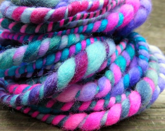 Handspun Yarn, Art Yarn, Bulky, Thick and Thin, Pastel, 2 Ply, Wool, Sparkle, Berry Blend