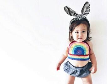 Crocheted Rainbow Halter, Kids Crop Top, Girls rainbow tank,Baby summer top, Baby Hippie Top, Baby Halter top,Chidrens Fashion, Kids Fashion