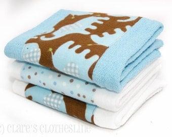 Baby Burp Cloths - Blue and Brown Elephants Burp Cloth Set of 3 - READY TO SHIP