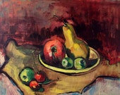Still-life with fruits.Original oil painting.Ready to ship.