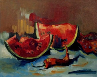 Watermelon painting. Original fine art. Oil painting .Ready to ship.