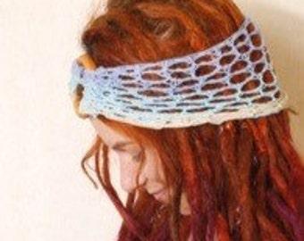 Headband blue Crocheted headband Ombre headband Boho headband Adult headband Handmade headband Beach headband Large headband Knit headband