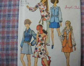 vintage 1970s simplicity sewing 8694 mini pantskirt blouse and vest size 12
