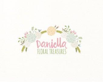floral logo flowers wreath premade logo - Logo Design #103
