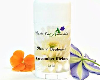 All Natural Deodorant Cucumber Melon- Homemade Organic deodorant Stick - Handmade TeaTree Oil Deodorant - Coconut Oil Deodorant