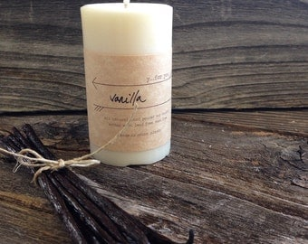 Vanilla Soy Candle Premium Scented Soy Candle Small Soy Pillar Candle White Soy Candle
