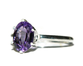 Amethyst Ring, Sterling Silver With Purple Stone, Bolivian Amethyst Ring