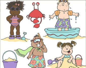 Beach Clipart -Personal and Limited Commercial Use- beach kids and crab clipart
