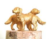 Golden Dog Wedding Cake Topper, Gold Bride & Groom, Animal Lover, Pet, Retriever, Unique