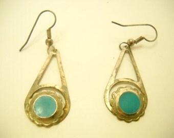 Vintage Faux Turquoise Dangle Pierced Earrings (6311)