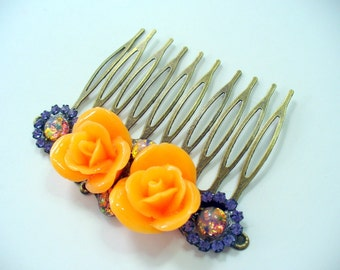 Orange Rose and Opal Filigree Hair Comb, Purple Rhinestones and Opal, Antique Brass Comb, Halloween, Hair Jewelry, Bridal hair comb