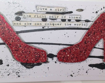 Red shoes greetings card