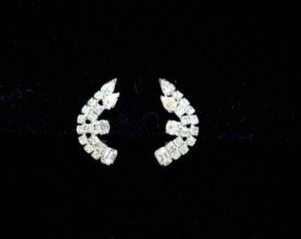 Clip Rhinestone Earrings,  Stunning,  Unsigned