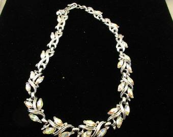 Trifari Silver Tone Necklace with AB Marquis Rhinestones