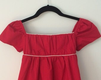Girl's Organic Cotton Holiday Red Dress, Empire Waist with white piping, by Amuse Me Shop, S/M