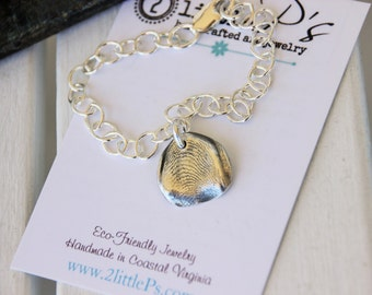 Fingerprint Charm Jewelry by 2 little P's, Fingerprint Charms, Charm Bracelet, Gift for Mom