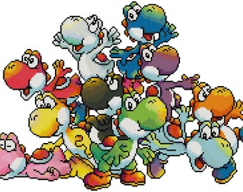 Pile of Yoshis Cross Stitch Pattern