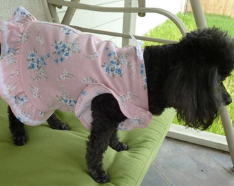Puppy Dress, Dog Clothes in Baby Pink floral motif with White lace and cute bow.