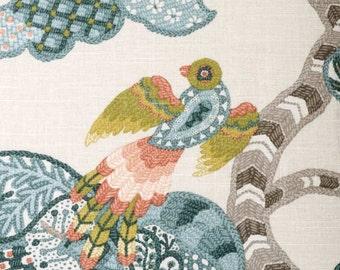 Coral and Blue Fabric - Modern Light Blue Bird Upholstery Yardage - Orange Cotton Curtain Material - Blue Bird Throw Pillow Fabric