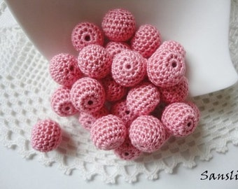 12 pcs- 13 mm beads-crocheted bead-pink beads-round beads-crochet ball beads-beads crochet-embellishment-wooden crochet cotton yarn beads
