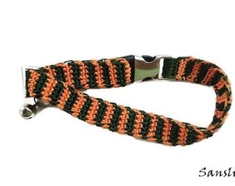 Cat collar-collar cat-adjustable collar-custom collar-crochet cat collar-cat accessories-.Adjustable cat collar orange and green with Bell
