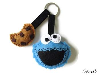 women's keychain-women's accessories-women's gifts-felt accessories-birthday gifts-accessories women felt-cookie monster key ring