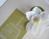 "Narcissus & Birdcage ""Fly"" Encouragement or All Occasion Note Card, White Silk Flower and Lime Green Blank Note Card, 3 1/2 x 5"