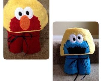Monster Hooded Towel, red monster, blue monster, infants, children