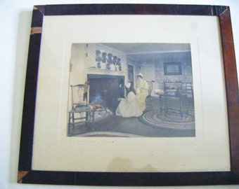 "Rare Antique Framed Wallace Nutting Hand Colored Interior ""The Charms Of Home"" Signed and Titled In Pencil"