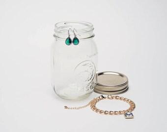 Dangle Earrings - Green Gemstone, Silver Wrapped - Sterling Silver Earwire - Bridesmaids Earrings - Bridal Earrings