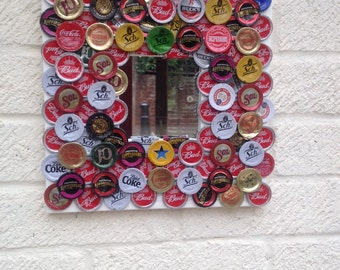 Upcycled bottle cap mirror